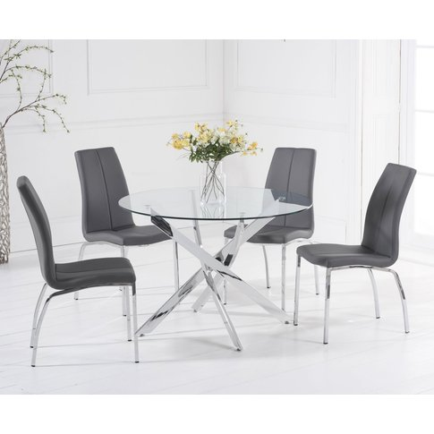 Denver 110cm Glass Dining Table With Cavello Chairs