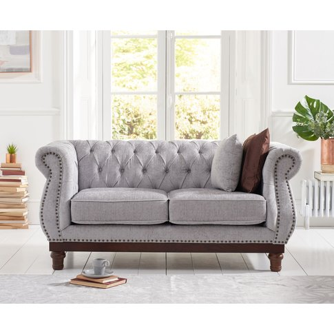 Henbury Chesterfield Grey Plush 2 Seater Sofa