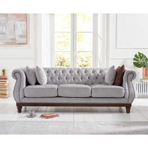 Henbury Chesterfield Grey Plush 3 Seater Sofa