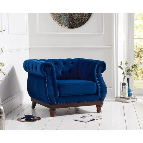 Henbury Chesterfield Blue Plush Fabric Armchair