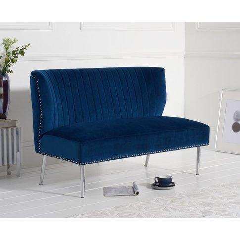 Lina Blue Velvet Love Seat Sofa