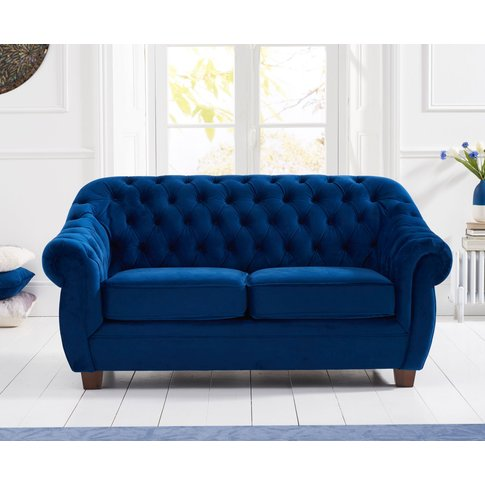 Lacey Chesterfield Blue Plush Fabric Two-Seater Sofa