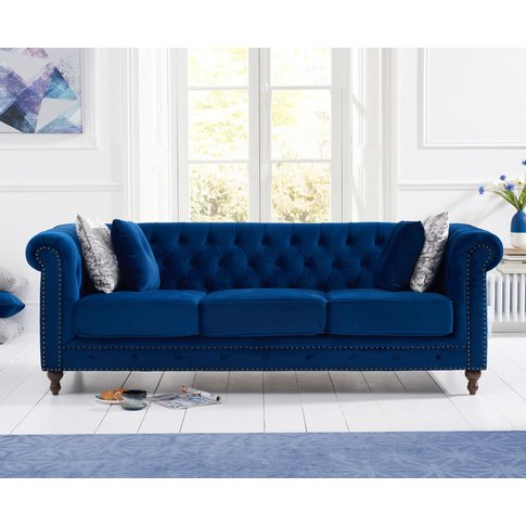 Milano Chesterfield Blue Plush 3 Seater Sofa
