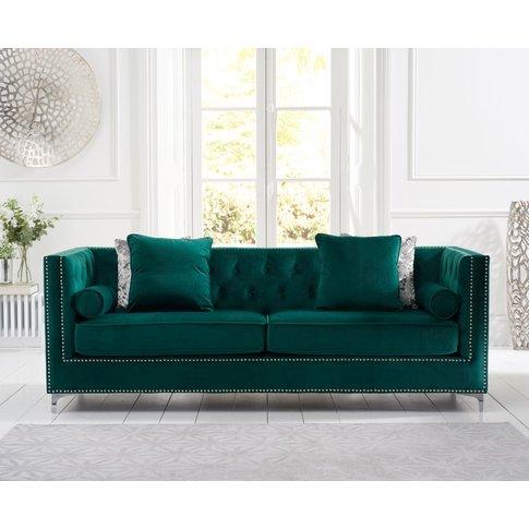 New Jersey Green Velvet 4 Seater Sofa