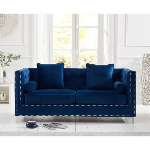 New Jersey Blue Velvet 3 Seater Sofa