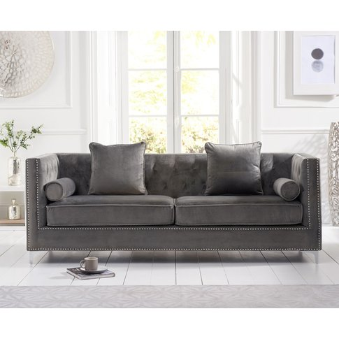 New Jersey Grey Velvet 4 Seater Sofa