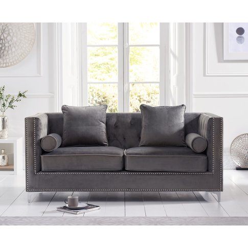 New Jersey Grey Velvet 3 Seater Sofa