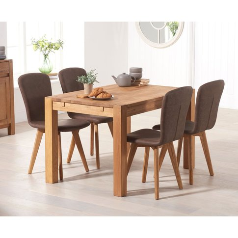 Verona 120cm Solid Oak Dining Table With Tivoli Faux...