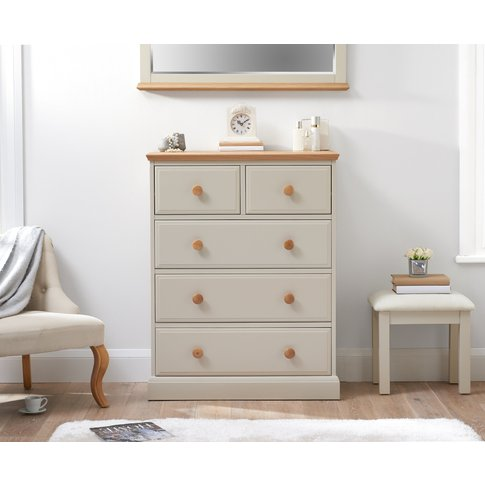 Addison Oak And Stone Painted 2 Over 3 Chest Of Drawers