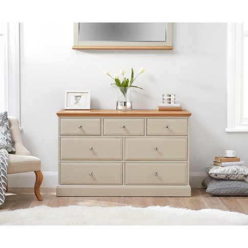 Addison Oak And Stone Painted 3 Over 4 Chest Of Drawers