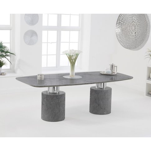 Alona 220cm Grey Marble Dining Table
