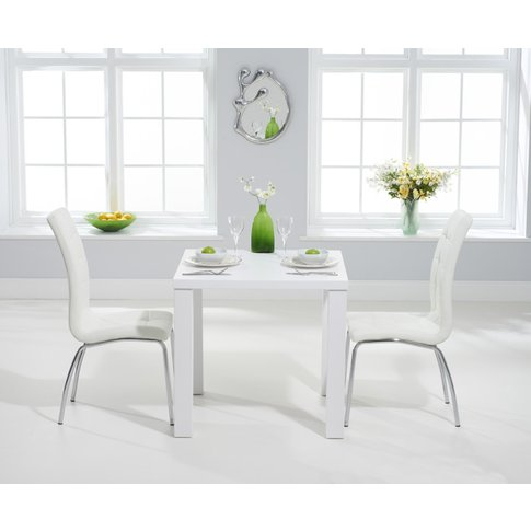 Atlanta 80cm White High Gloss Dining Table With Calg...