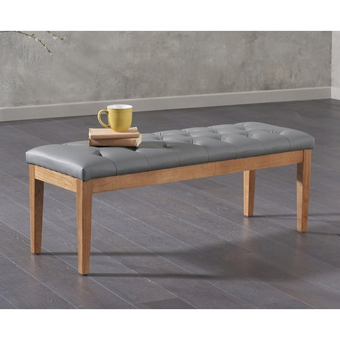 Cora 120cm Grey Faux Leather Bench