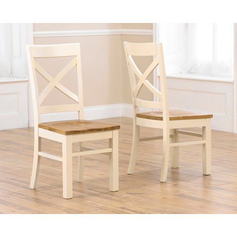 Cavendish Solid Oak And Cream Dining Chairs (Pairs)