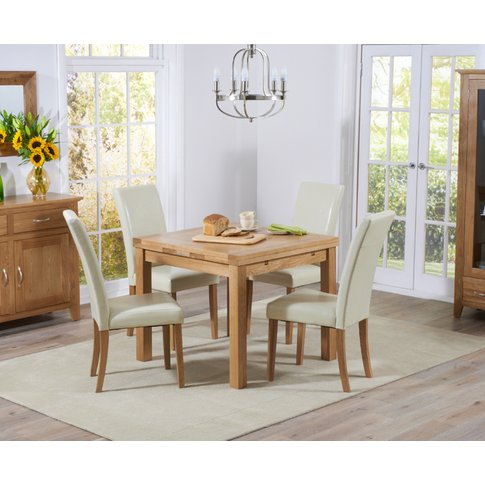 Cheadle 90cm Oak Extending Dining Table With Cream A...