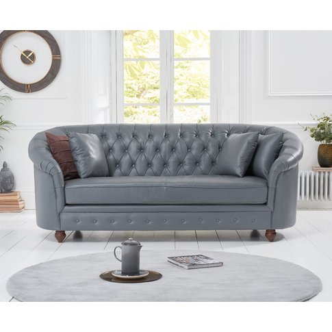 Cara Chesterfield Grey Leather 3 Seater Sofa