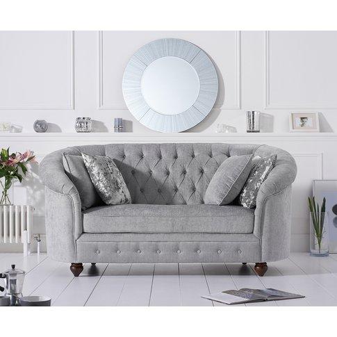 Cara Chesterfield Grey Plush Fabric Two-Seater Sofa