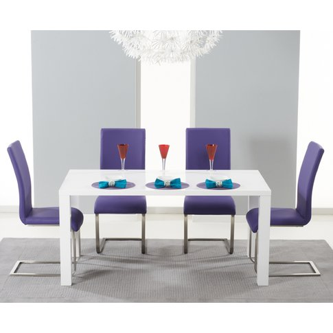 Atlanta 120cm White High Gloss Dining Table With Malaga Chairs