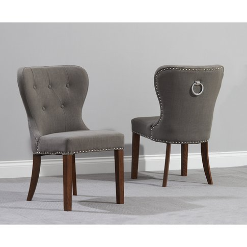 Knightsbridge Studded Grey Fabric Dark Oak Leg Dinin...