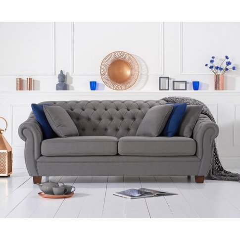 Lacey Chesterfield Grey Fabric Three-Seater Sofa