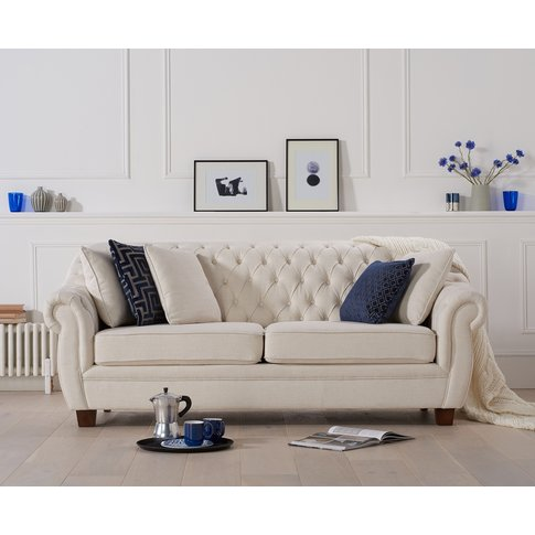 Lacey Chesterfield Ivory Linen Fabric Three-Seater Sofa