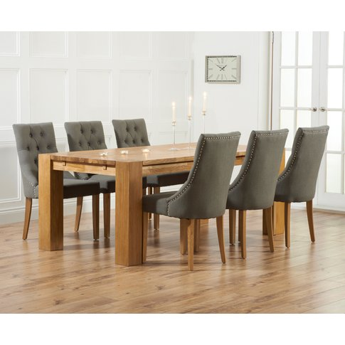 Madrid 240cm Solid Oak Dining Table With Pacific Fab...