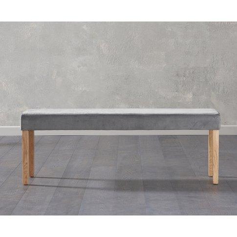 Mia Large Grey Velvet Bench