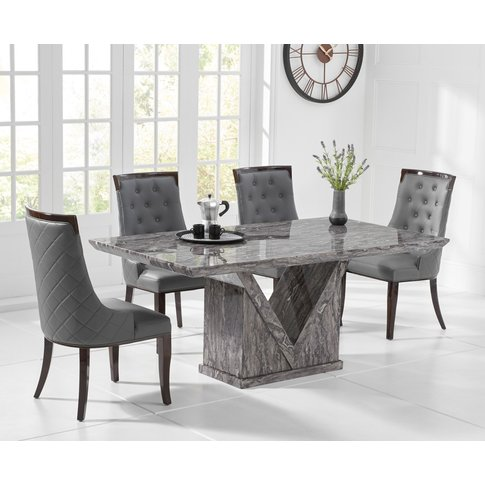 Mocha 160cm Grey Marble Dining Table With Angelica C...