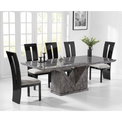 Mocha 220cm Grey Marble Dining Table With Verbier Ch...