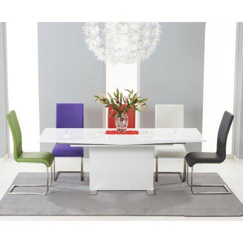 Modena 150cm White High Gloss Extending Dining Table...