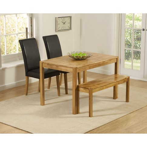 Oxford 120cm Solid Oak Dining Table With Benches And...