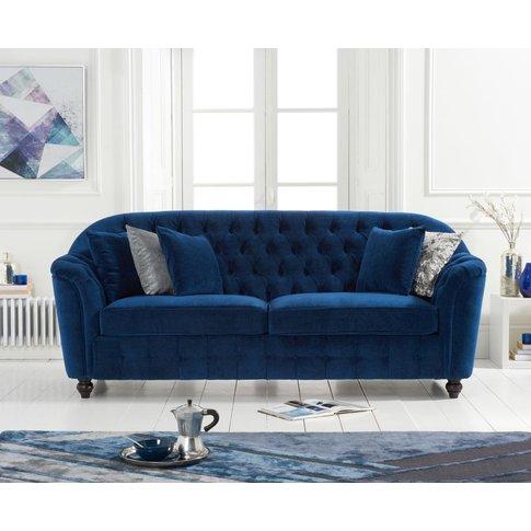 Columbus Blue Velvet 3 Seater Sofa