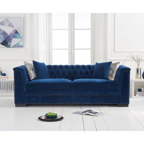 Pedro Blue Velvet 3 Seater Sofa