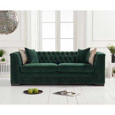 Pedro Green Velvet 3 Seater Sofa