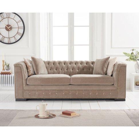 Pedro Mink Velvet 3 Seater Sofa