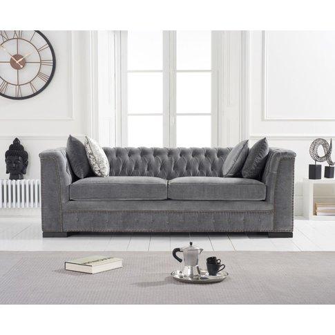 Pedro Grey Velvet 3 Seater Sofa