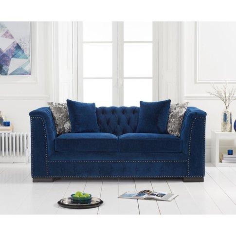 Pedro Blue Velvet 2 Seater Sofa