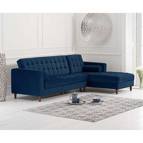 Arena Blue Velvet Right Facing Chaise Sofa