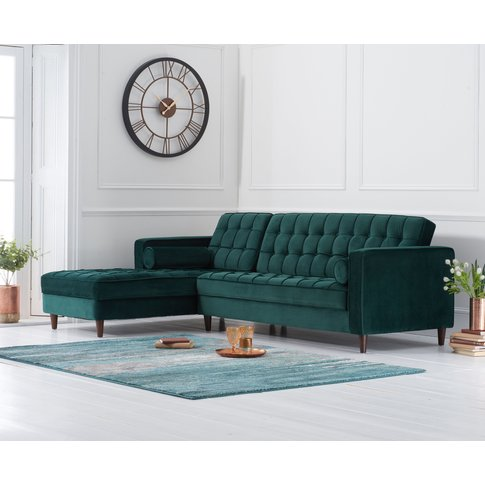 Arena Green Velvet Left Facing Chaise Sofa