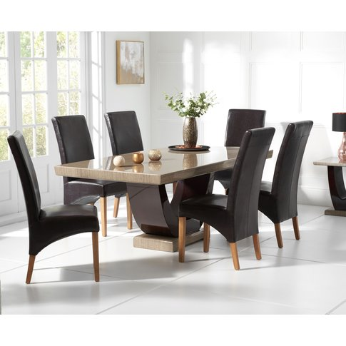 Raphael 170cm Brown Pedestal Marble Dining Table Wit...