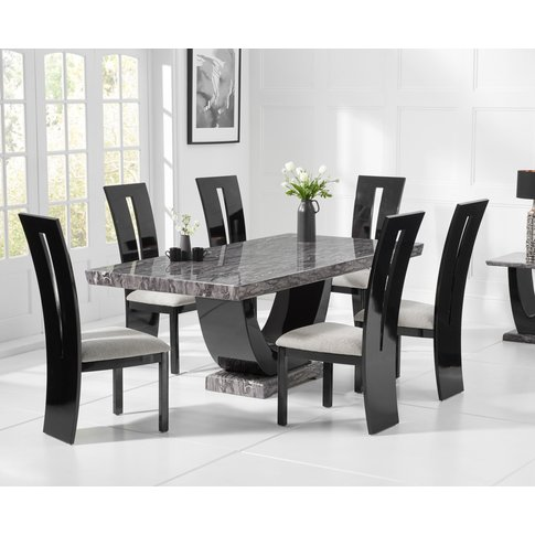 Raphael 200cm Dark Grey Pedestal Marble Dining Table...