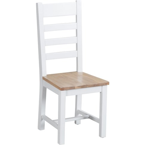 Ellen Oak And White Ladder Back Dining Chairs (Pairs)
