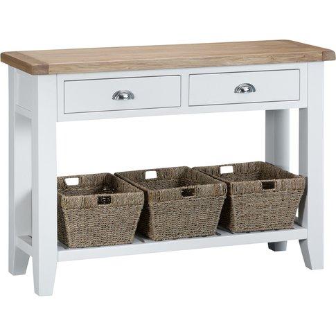 Ellen Oak And White Large Console Table