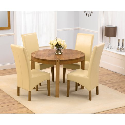 Verona 110cm Solid Oak Round Dining Table With Canne...