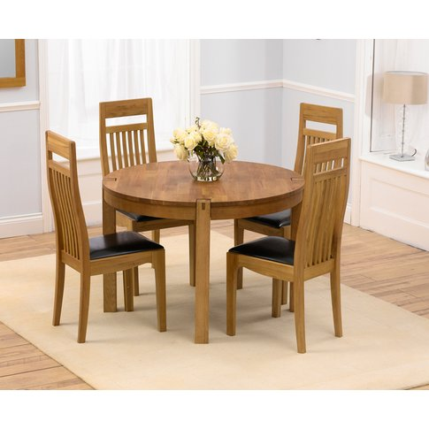 Verona 110cm Solid Oak Round Dining Table With Monac...