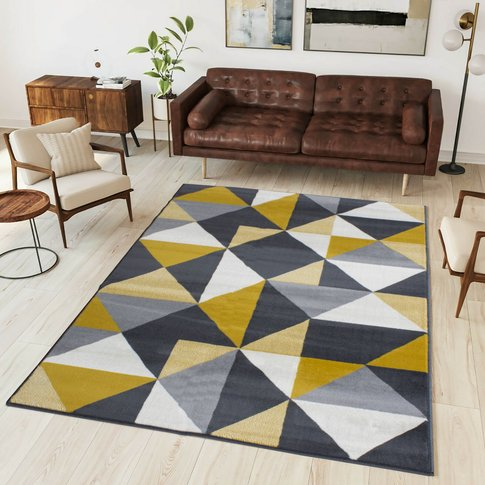 Yelow Grey Diamond Geometric Living Room Rug - Milan