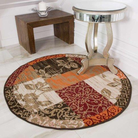 Round Circle Patchwork Terracotta Rug - Milan