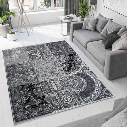 Black Grey Traditional Patchwork Living Room Rug - M...