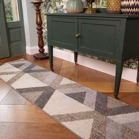 Brown Grey Modern Geometric Living Room Runner Rug -...