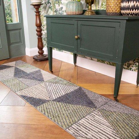 Green Grey Geometric Soft Living Room Runner Rug - V...